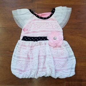 3/$25 Little Lass Inlet Lace White Pink Dress 24M